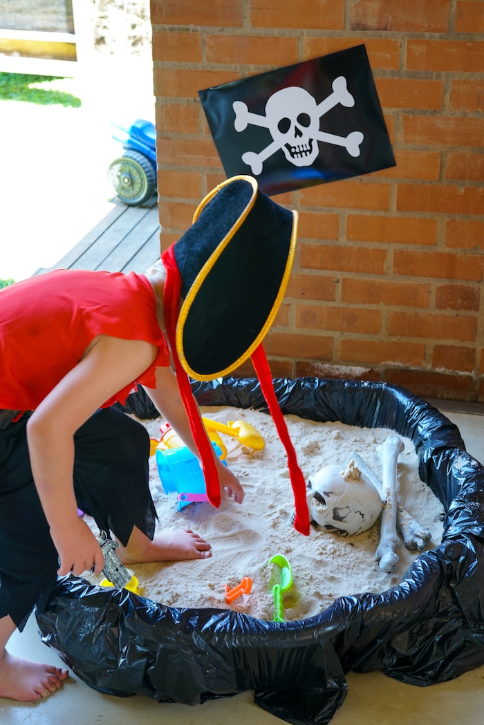 Treasure Hunt Sand Box from a Classic Pirate Birthday Party on Kara's Party Ideas | KarasPartyIdeas.com (16)