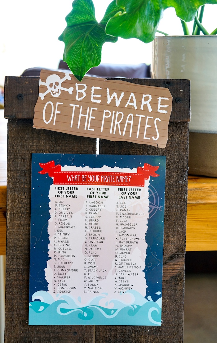 Beware of Pirates Sign from a Classic Pirate Birthday Party on Kara's Party Ideas | KarasPartyIdeas.com (13)