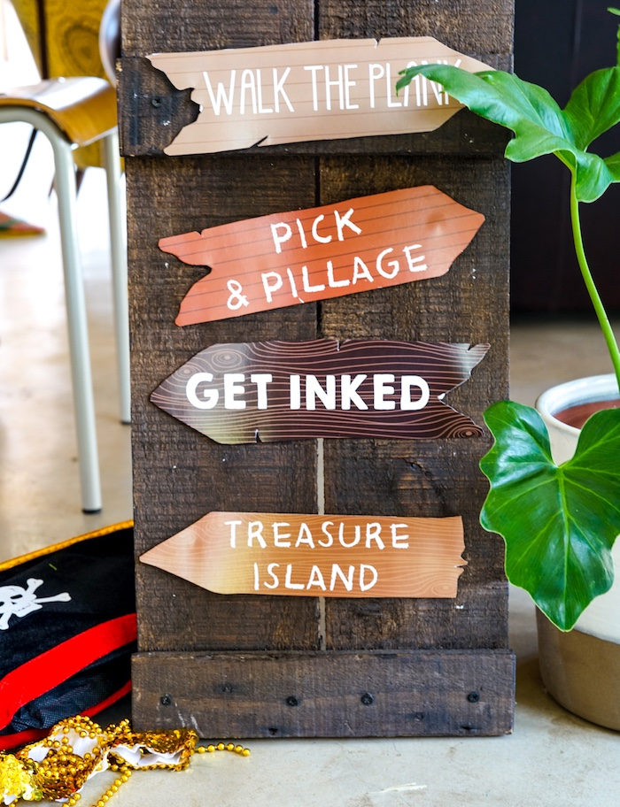 Rustic Directional Sign from a Classic Pirate Birthday Party on Kara's Party Ideas | KarasPartyIdeas.com (12)
