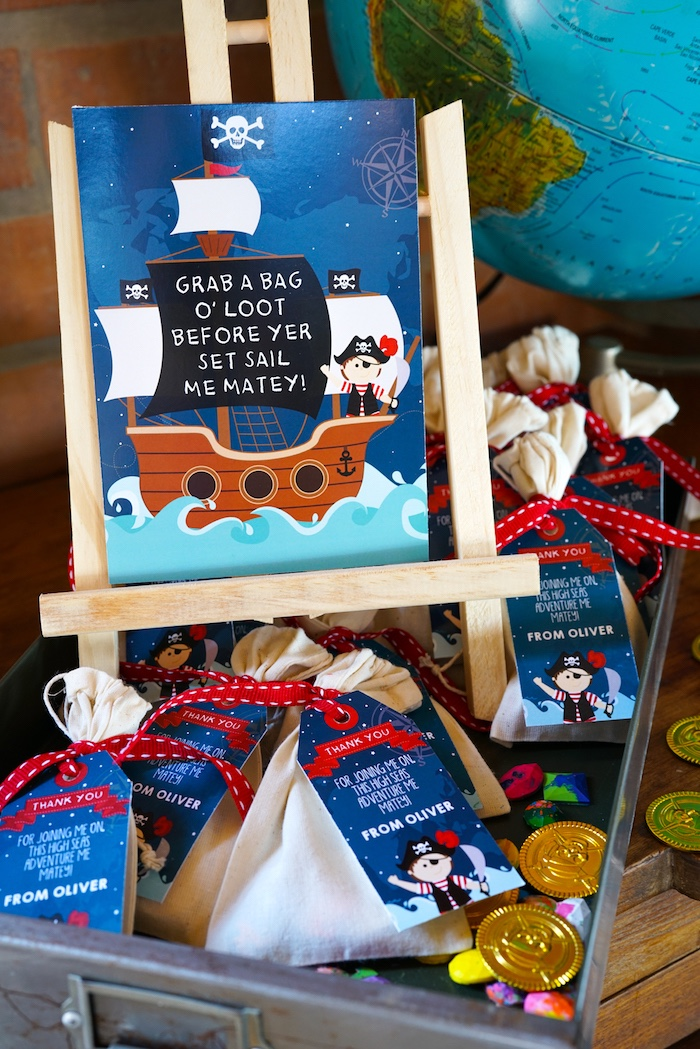 Loot Bags from a Classic Pirate Birthday Party on Kara's Party Ideas | KarasPartyIdeas.com (8)