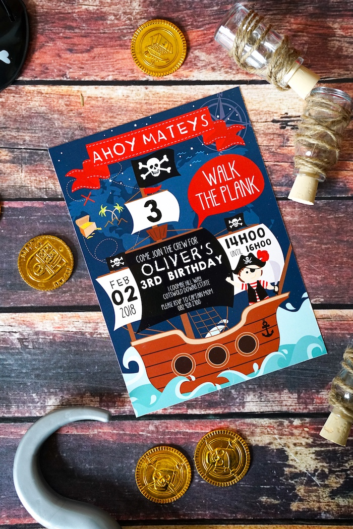 Pirate Party Invite from a Classic Pirate Birthday Party on Kara's Party Ideas | KarasPartyIdeas.com (7)