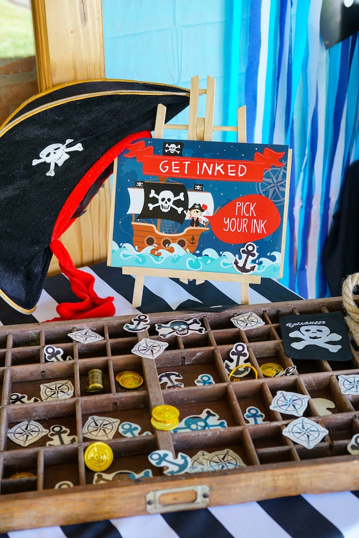 Temporary Ink from a Classic Pirate Birthday Party on Kara's Party Ideas | KarasPartyIdeas.com (4)