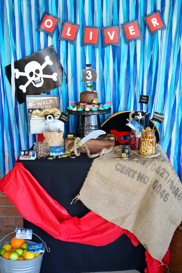Pirate Themed Dessert Table from a Classic Pirate Birthday Party on Kara's Party Ideas | KarasPartyIdeas.com (28)