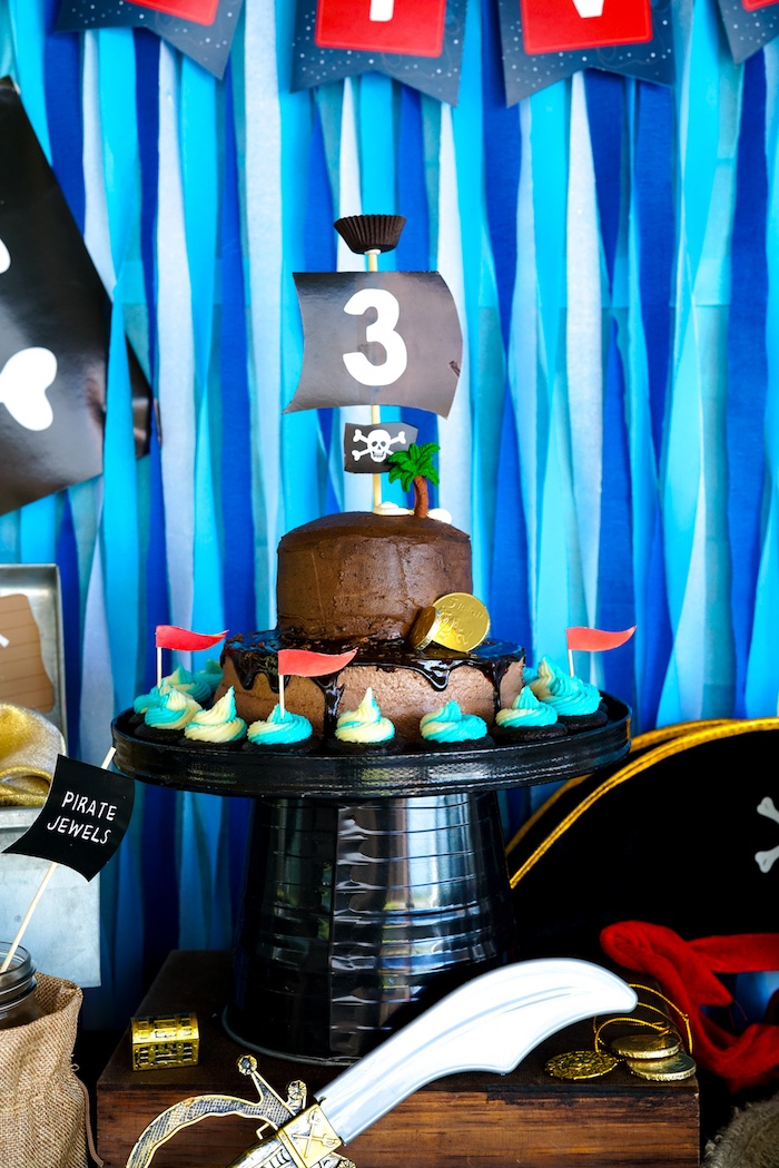 Pirate Party Cake + Cupcakes from a Classic Pirate Birthday Party on Kara's Party Ideas | KarasPartyIdeas.com (26)