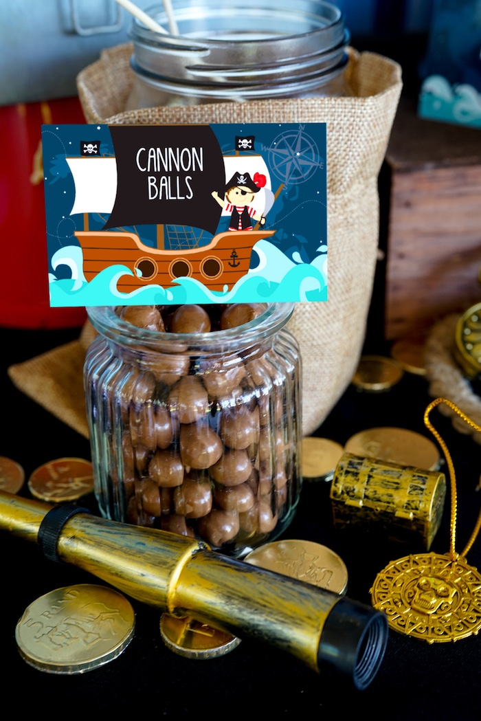 Cannon Ball Whoppers + Chocolates from a Classic Pirate Birthday Party on Kara's Party Ideas | KarasPartyIdeas.com (23)