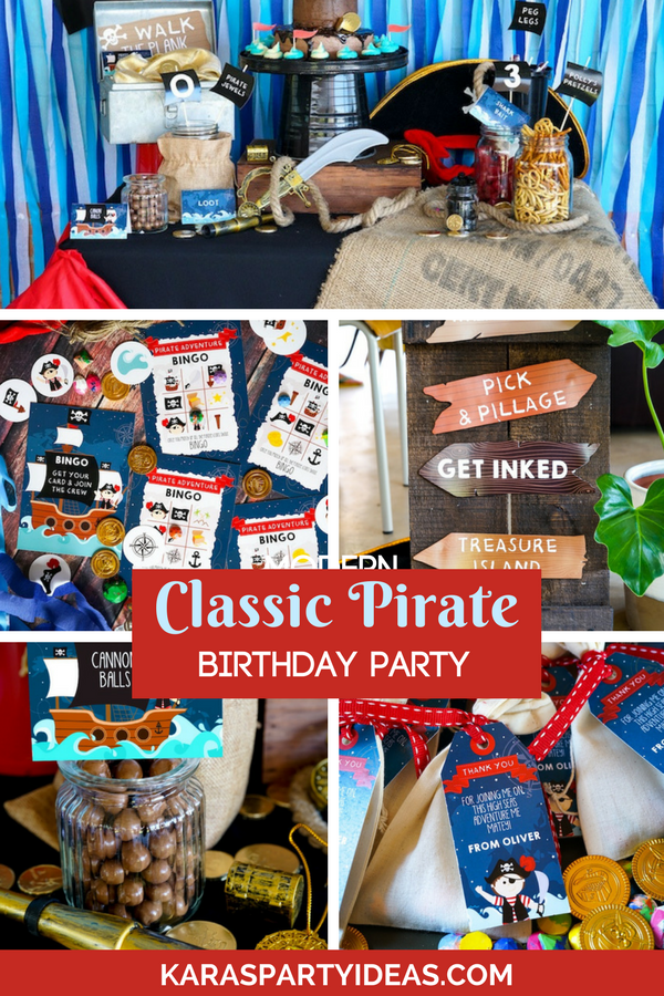 Classic Pirate Birthday Party via Kara's Party Ideas - KarasPartyIdeas.com