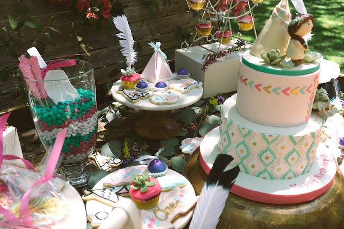 Dessert table from a Coachella Inspired Boho Birthday Party on Kara's Party Ideas | KarasPartyIdeas.com (6)