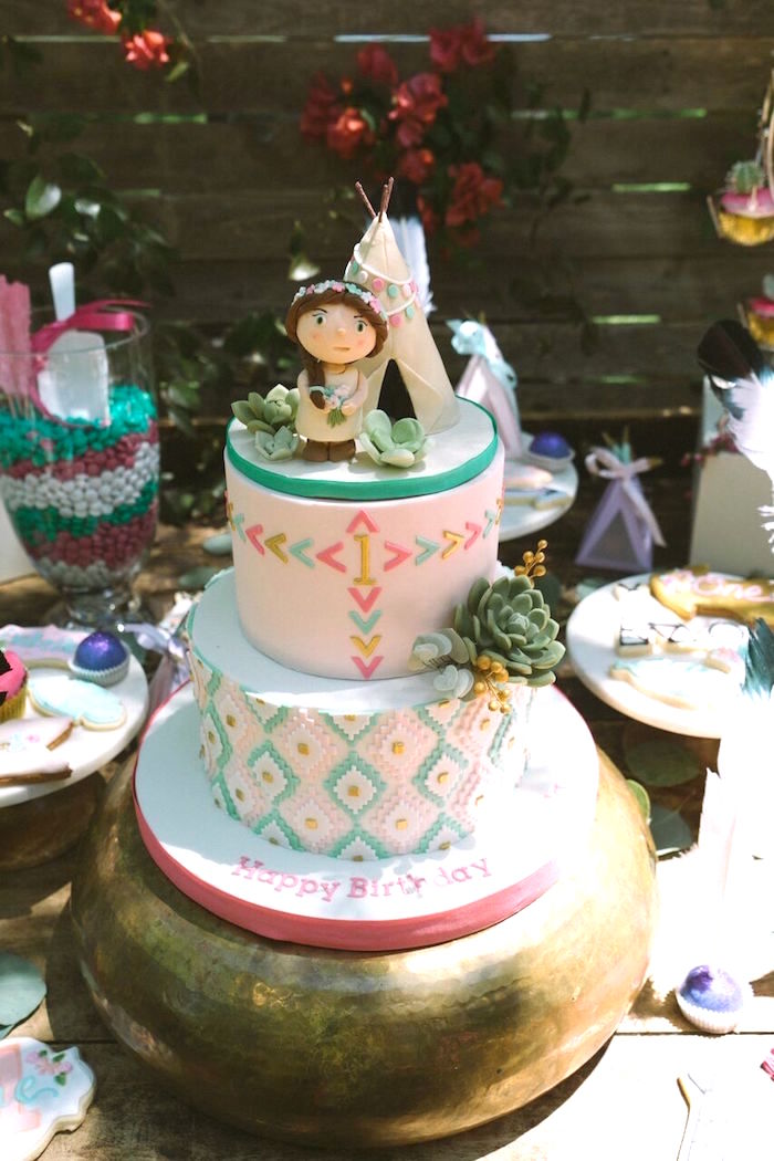 Boho Cake from a Coachella Inspired Boho Birthday Party on Kara's Party Ideas | KarasPartyIdeas.com (5)