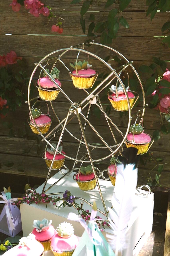 Succulent-topped cupcakes from a Coachella Inspired Boho Birthday Party on Kara's Party Ideas | KarasPartyIdeas.com (4)