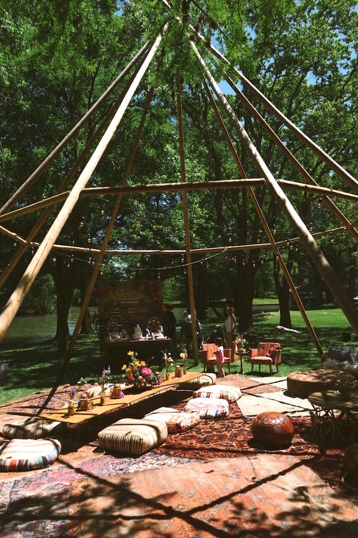 Open teepee tenscape from a Coachella Inspired Boho Birthday Party on Kara's Party Ideas | KarasPartyIdeas.com (3)