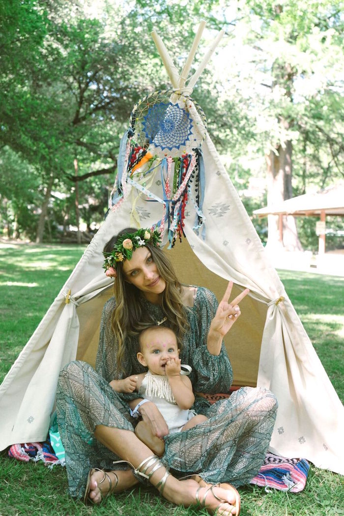 Teepee from a Coachella Inspired Boho Birthday Party on Kara's Party Ideas | KarasPartyIdeas.com (19)