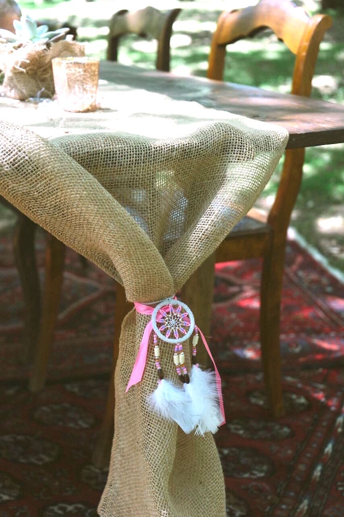 Burlap runner synched with a dreamcatcher from a Coachella Inspired Boho Birthday Party on Kara's Party Ideas | KarasPartyIdeas.com (14)