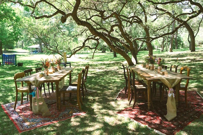 Rustic guest tables from a Coachella Inspired Boho Birthday Party on Kara's Party Ideas | KarasPartyIdeas.com (13)