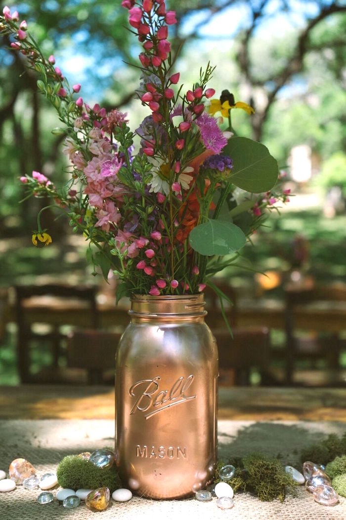 Copper Mason Jar Blooms from a Coachella Inspired Boho Birthday Party on Kara's Party Ideas | KarasPartyIdeas.com (11)