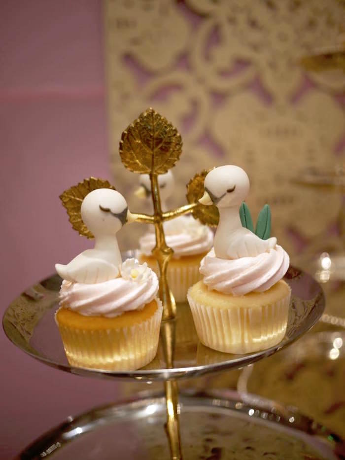 Swan Cupcakes from a Dreamy Swan Birthday Party on Kara's Party Ideas | KarasPartyIdeas.com (9)
