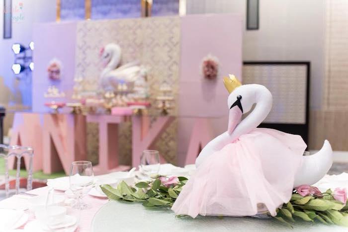 Swan Table Centerpiece from a Dreamy Swan Birthday Party on Kara's Party Ideas | KarasPartyIdeas.com (8)