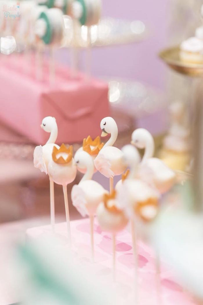 Swan Cake Pops from a Dreamy Swan Birthday Party on Kara's Party Ideas | KarasPartyIdeas.com (6)