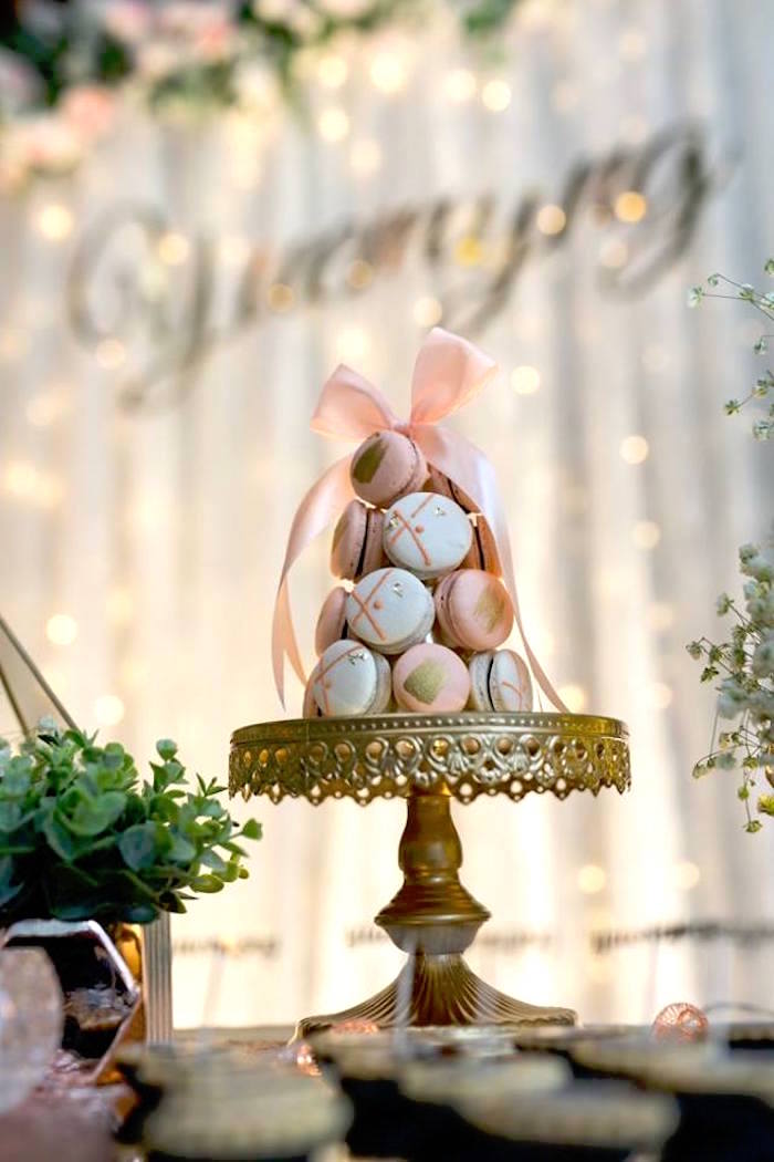 Pink + White Macaron Tower from an Elegant 21st Birthday Party on Kara's Party Ideas | KarasPartyIdeas.com (4)