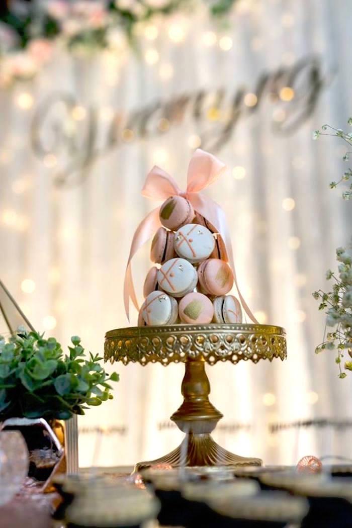 Pink White Macaron Tower From An Elegant 21st Birthday Party On Karas Ideas