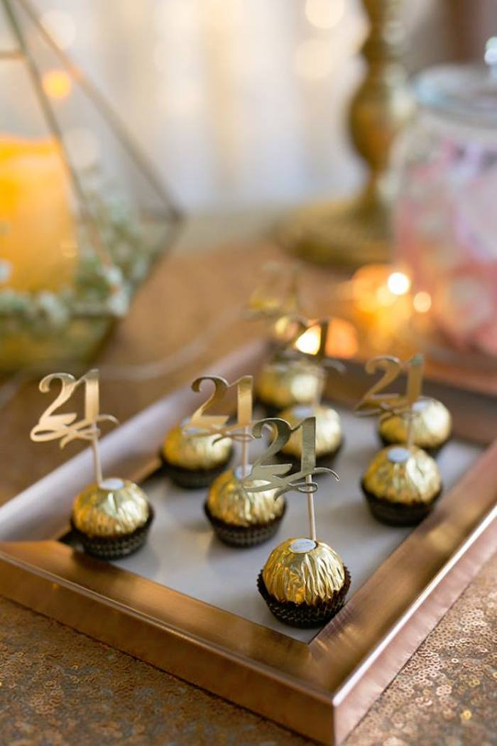 Ferrero Rocher Chocolates with Gold 21 Toppers from an Elegant 21st Birthday Party on Kara's Party Ideas | KarasPartyIdeas.com (14)