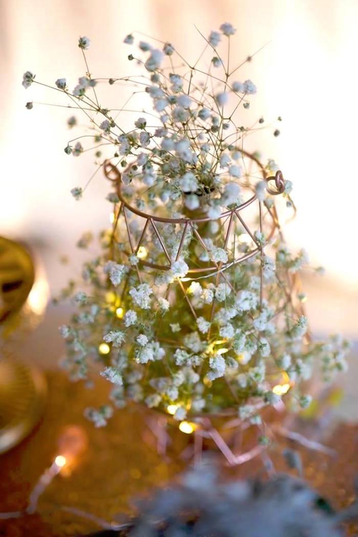 Copper Wire Gypsophila Bloom from an Elegant 21st Birthday Party on Kara's Party Ideas   KarasPartyIdeas.com (13)