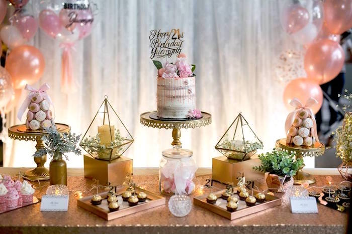 Shimmering Gold Dessert Table from an Elegant 21st Birthday Party on Kara's Party Ideas | KarasPartyIdeas.com (11)