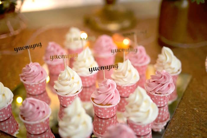 Pink & White Cupcakes from an Elegant 21st Birthday Party on Kara's Party Ideas | KarasPartyIdeas.com (9)