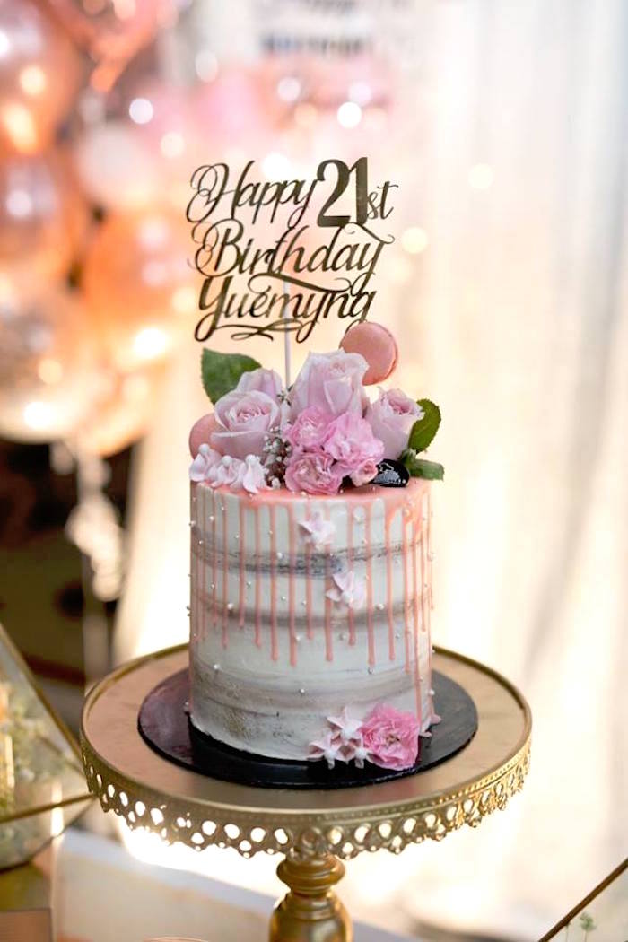 Pink White Semi Naked Floral Drip Cake From An Elegant 21st Birthday Party On