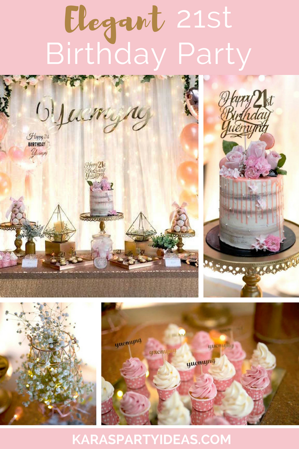 Elegant 21st Birthday Party via Kara's Party Ideas - KarasPartyIdeas.com
