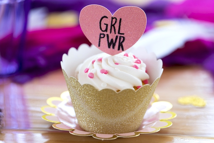 GRL PWR Cupcake from an Elegant Bohemian Valentine's Day Party on Kara's Party Ideas | KarasPartyIdeas.com (22)