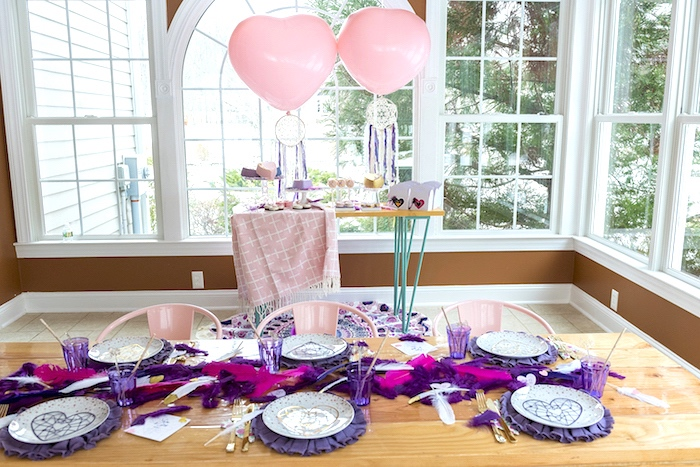 Boho V-Day Guest Table from an Elegant Bohemian Valentine's Day Party on Kara's Party Ideas | KarasPartyIdeas.com (16)