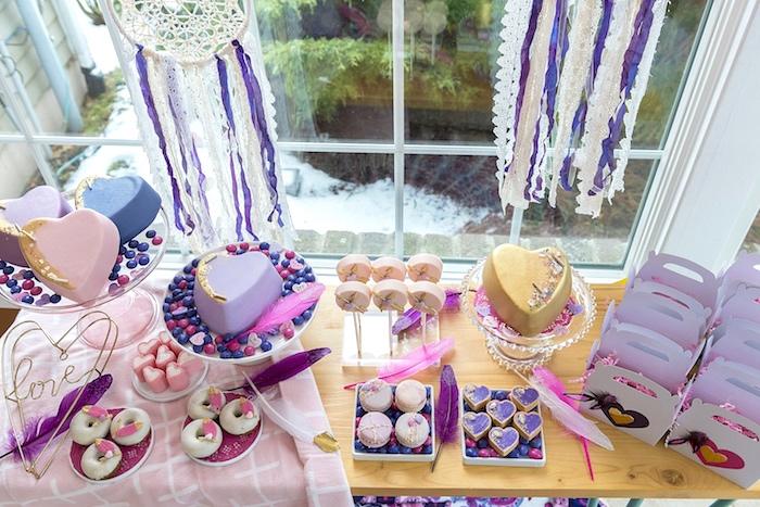 Boho V-Day Dessert Table from an Elegant Bohemian Valentine's Day Party on Kara's Party Ideas | KarasPartyIdeas.com (12)