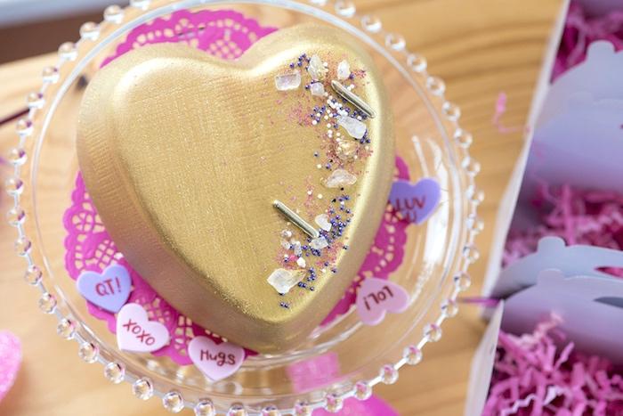 Gold Boho Heart Cake from an Elegant Bohemian Valentine's Day Party on Kara's Party Ideas | KarasPartyIdeas.com (31)
