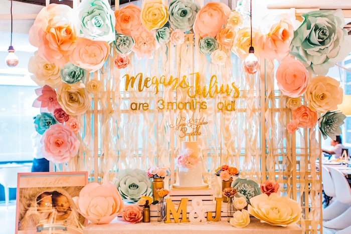 Elegant Floral 100 Days Party on Kara's Party Ideas | KarasPartyIdeas.com (2)
