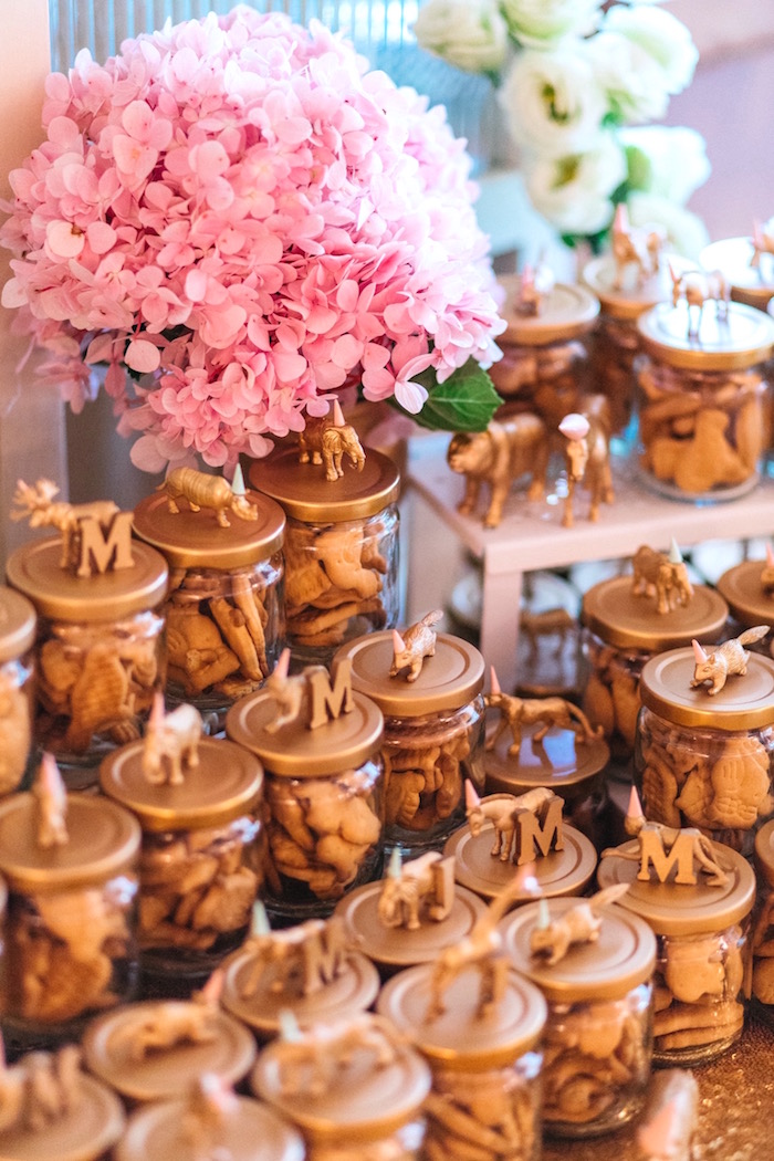 Animal Cracker Favor Jars with Custom Animal + Letter Lids from an Elegant Floral 100 Days Party on Kara's Party Ideas | KarasPartyIdeas.com (8)