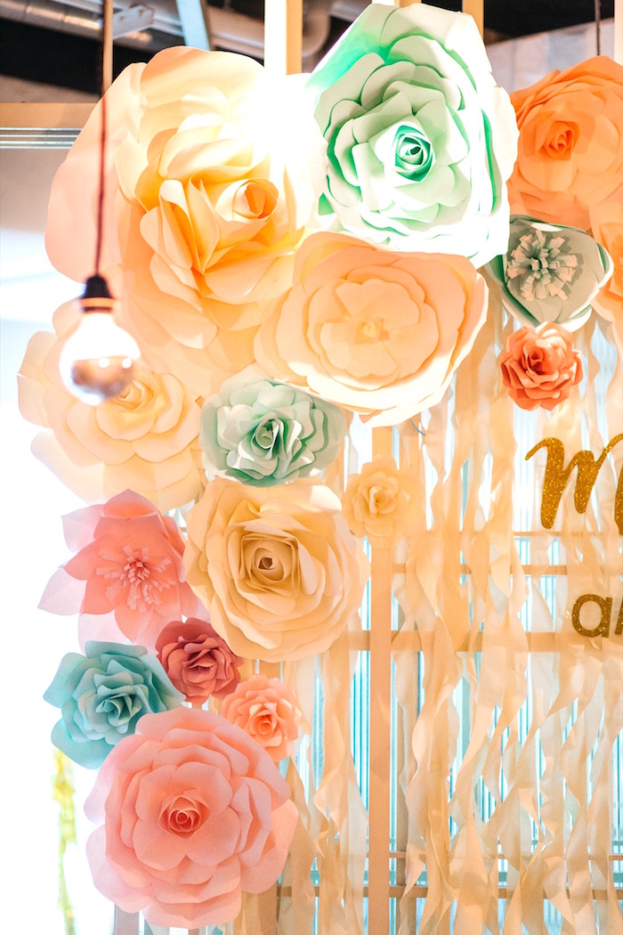 Paper Flower Arch from an Elegant Floral 100 Days Party on Kara's Party Ideas | KarasPartyIdeas.com (5)