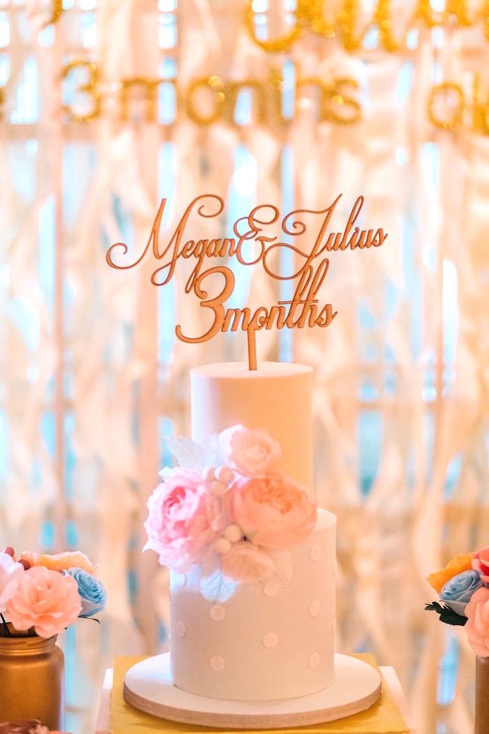 White Polka Dot Cake from an Elegant Floral 100 Days Party on Kara's Party Ideas | KarasPartyIdeas.com (4)