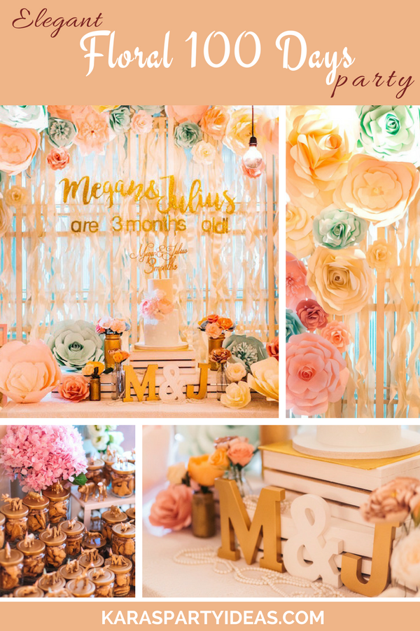 Elegant Floral 100 Days Party via Kara's Party Ideas - KarasPartyIdeas.com