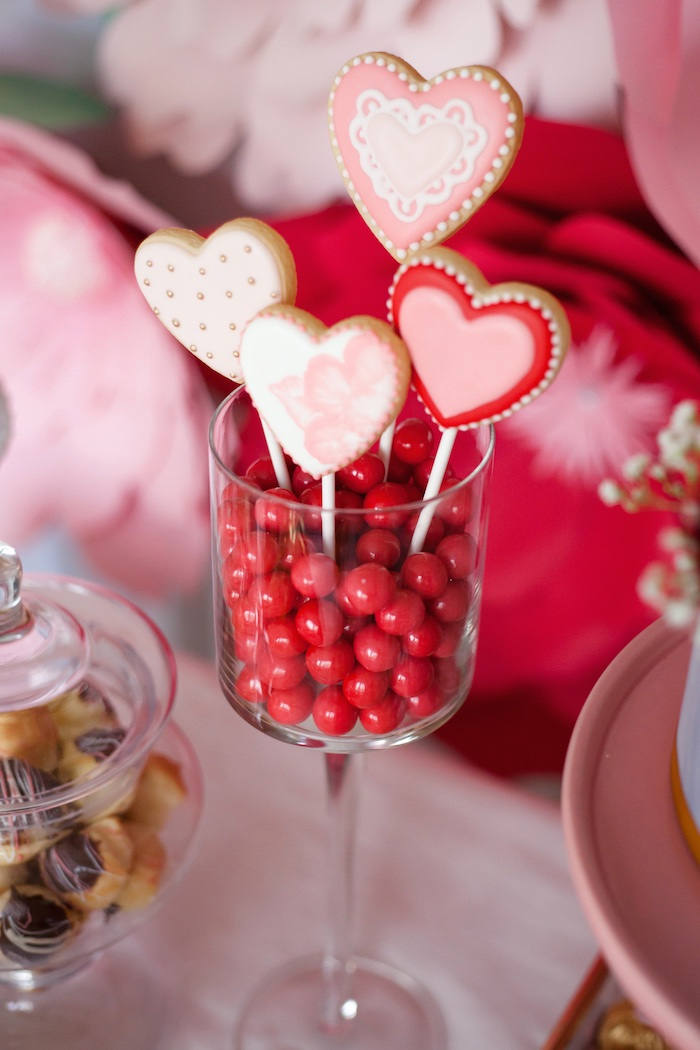 Heart Cookie Pops from an Elegant Valentine's Day Dessert Table on Kara's Party Ideas | KarasPartyIdeas.com (12)