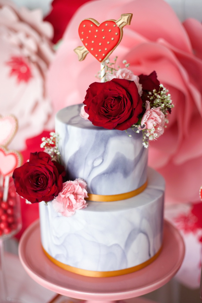 Marble Valentine's Day Cake from an Elegant Valentine's Day Dessert Table on Kara's Party Ideas | KarasPartyIdeas.com (11)