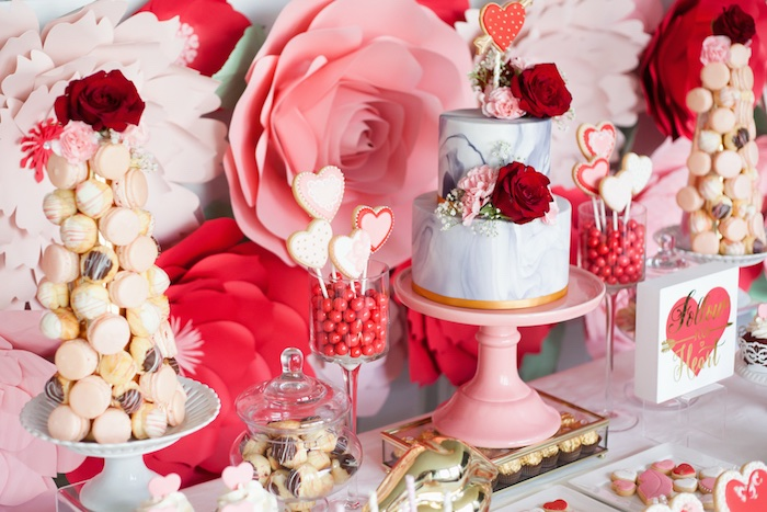 Sweet tablescape from an Elegant Valentine's Day Dessert Table on Kara's Party Ideas | KarasPartyIdeas.com (10)