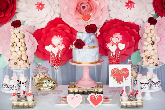 Elegant Valentine's Day Dessert Table on Kara's Party Ideas | KarasPartyIdeas.com (9)