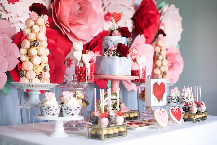 Sweet tablescape from an Elegant Valentine's Day Dessert Table on Kara's Party Ideas | KarasPartyIdeas.com (8)