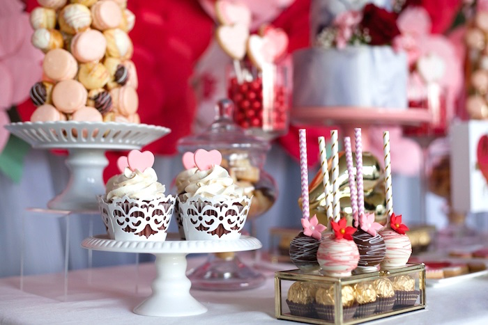 Cupcakes and cake pops from an Elegant Valentine's Day Dessert Table on Kara's Party Ideas | KarasPartyIdeas.com (6)