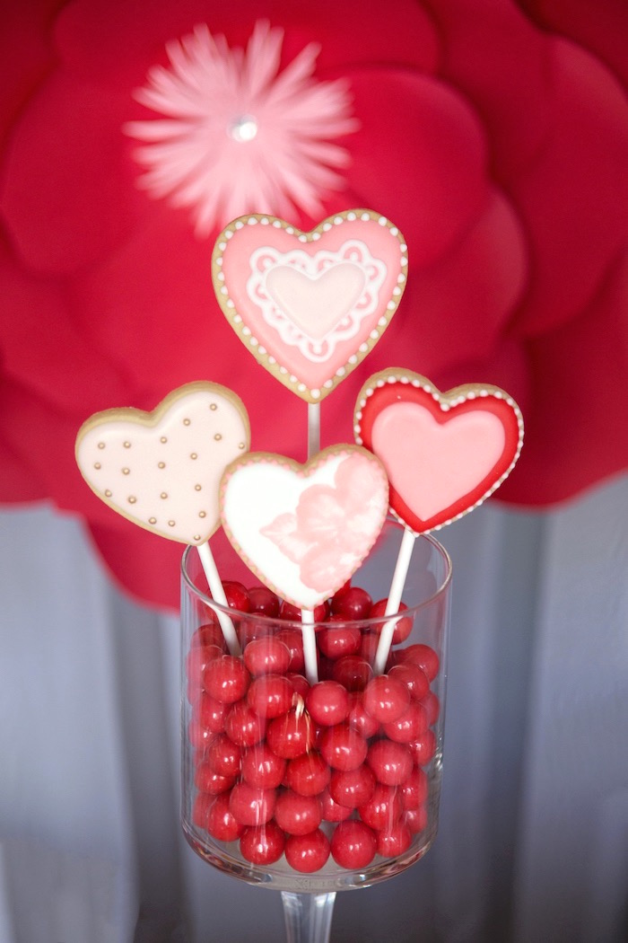 Valentine's Heart Cookie Pops from an Elegant Valentine's Day Dessert Table on Kara's Party Ideas | KarasPartyIdeas.com (20)