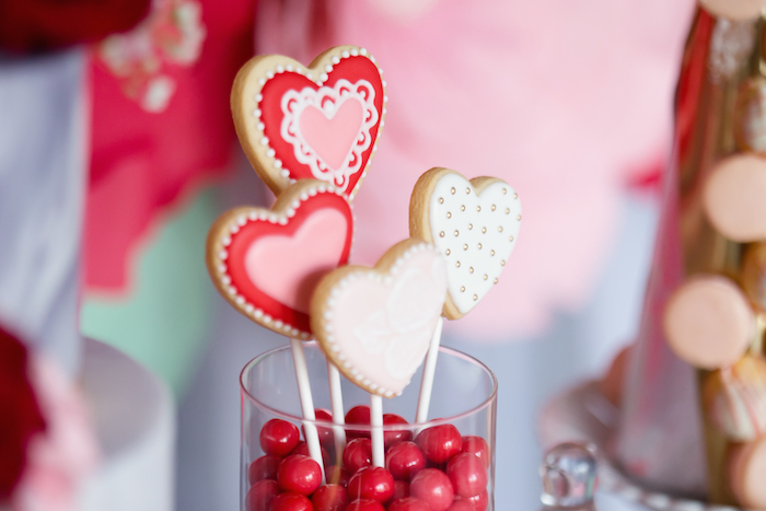 Valentine's Day Cookies from an Elegant Valentine's Day Dessert Table on Kara's Party Ideas | KarasPartyIdeas.com (17)