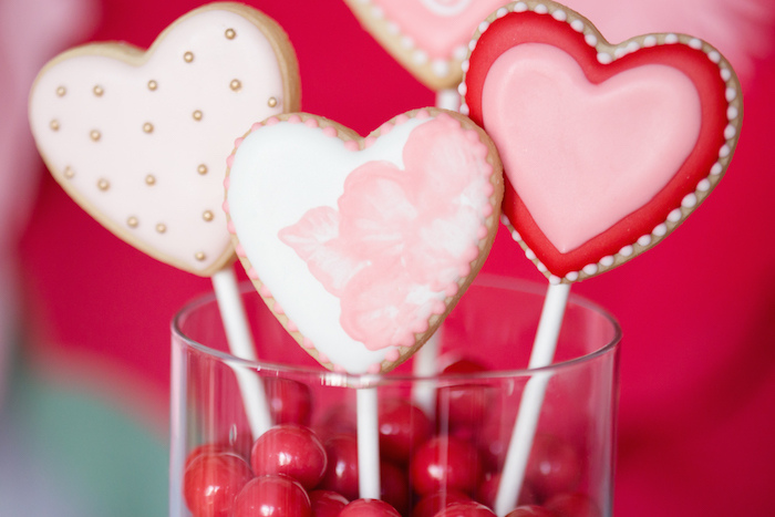 Valentine's Heart Cookie Pops from an Elegant Valentine's Day Dessert Table on Kara's Party Ideas | KarasPartyIdeas.com (15)