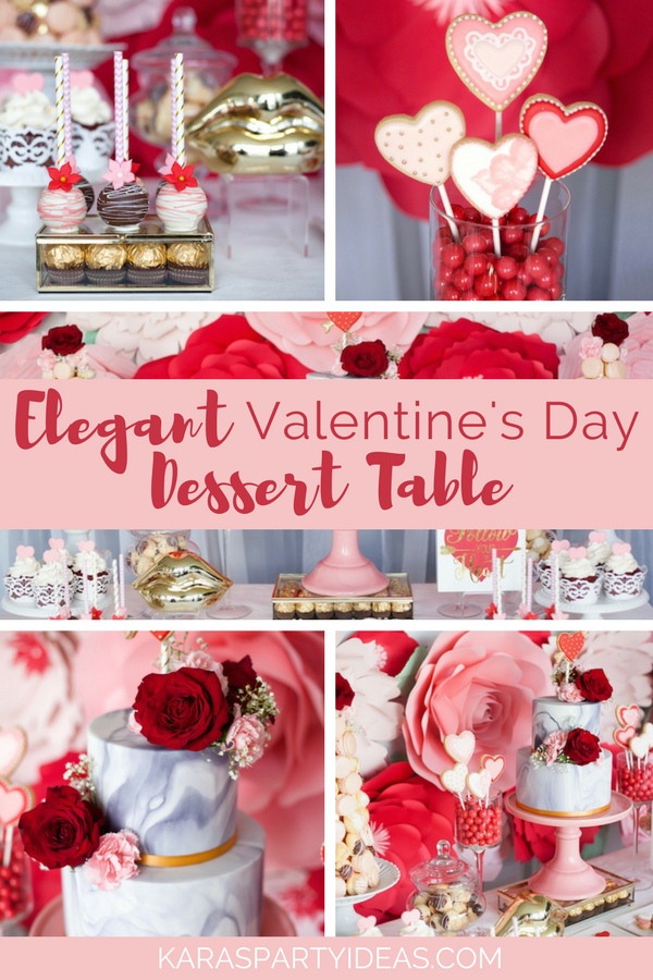 Elegant Valentine's Day Dessert Table via Kara's Party Ideas - KarasPartyIdeas.com