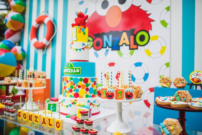 Elmo Dessert Table from Elmo's Super Splash Birthday Party on Kara's Party Ideas | KarasPartyIdeas.com (16)