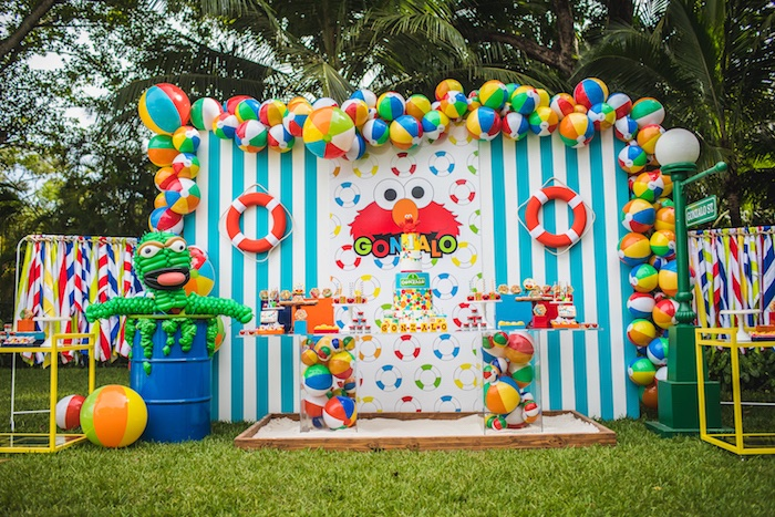 Beach Ball Dessert Table Spread from Elmo's Super Splash Birthday Party on Kara's Party Ideas | KarasPartyIdeas.com (13)